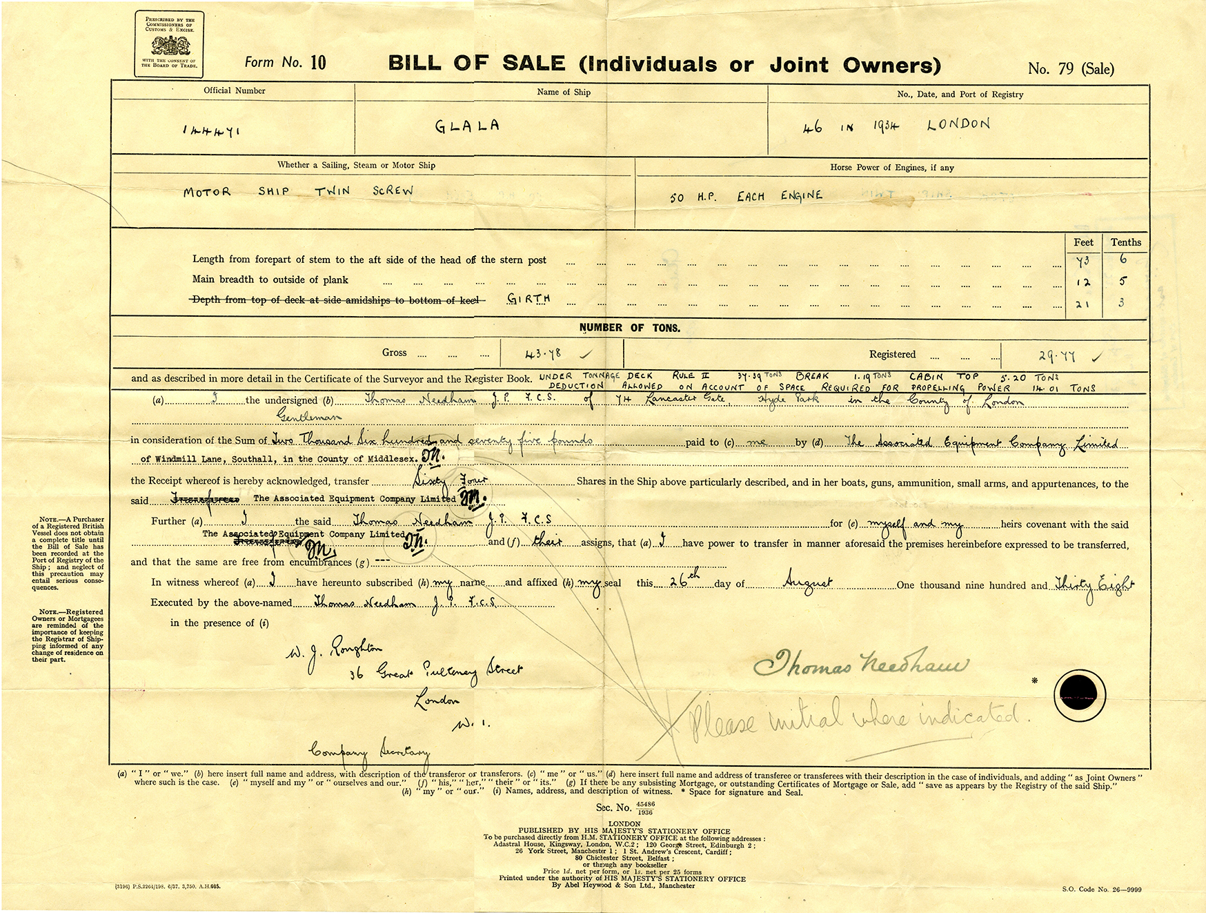 Bill of Sale for Glala 1938